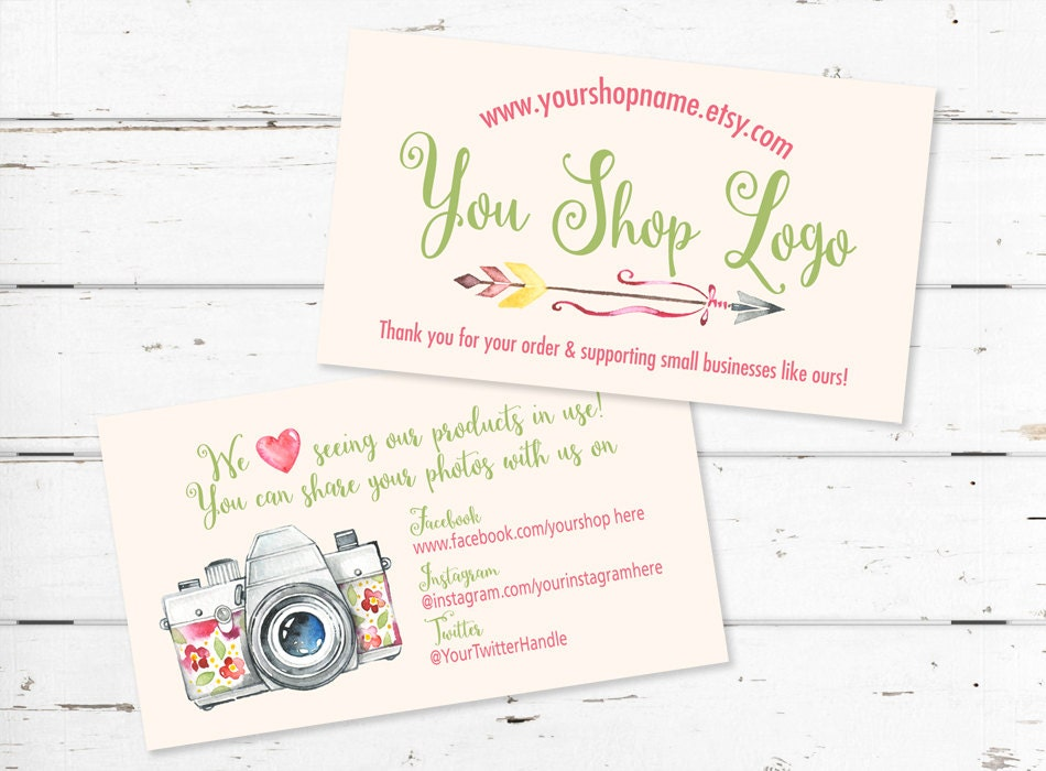 Etsy Shop Business Card, Etsy Shop Card, Etsy Shop Tag, Etsy Thank ...