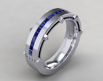 Mens Sapphire Diamond Wedding Band 14kt White Gold 5.98mm Princess Cut Blue Sapphire and Round Genuine Diamonds  Wedding Ring Wedding Band