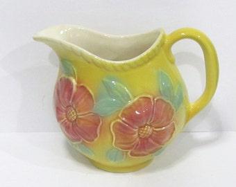 Vintage Hull Yellow Sun Glow Art Pottery Pink Flower Pitcher 24 oz # 52