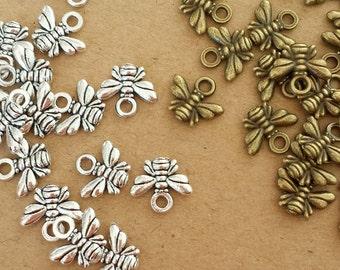 50pcs Cute little bee  charms, 10x11mm Antique bronze bee , Antique Silver bee  Charms Pendants EAJ001