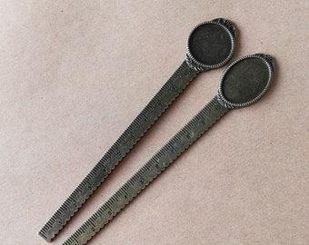 2 pcs 10cm  Bookmark Ruler, Antique Bronze Bookmark Ruler with pad 20mm Base Setting, pad 18x25mm Base Setting bookmark ABM05