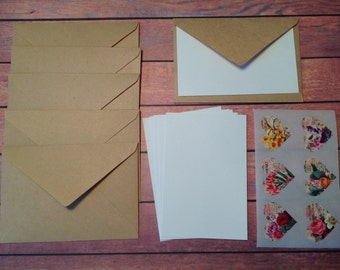 Mini cards, tiny cards and envelope set, Mini stationery, Kraft paper envelopes, mini stationary,