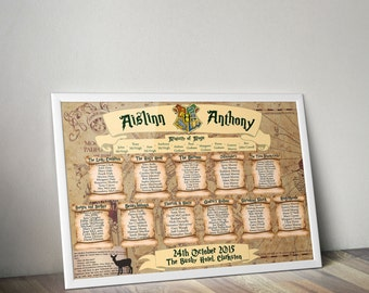 Harry Potter themed (framed & customised) A2 wedding table plan