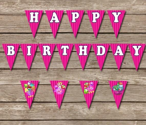 Shopkins Birthday Banner Shopkins Party Banner: Shopkins Banner Shopkins Printable Birthday By PrintzNThings