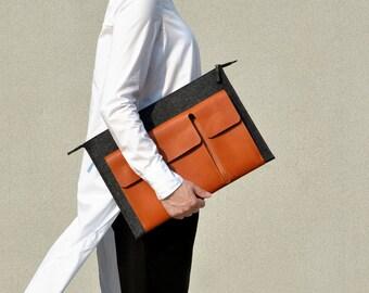 "new MacBook 13"" Pro/ 15"" Pro case Carry-ALL macbook 2016 case tan premium italian leather dark grey merino wool felt"