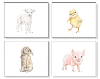 Baby Farm Animal Nursery Prints. Farm Nursery Art Barn Nursery Farmyard Barnyard Pig Piglet Chicken Chick Sheep Lamb Bunny Rabbit Set of 4.