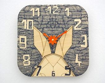 Woodland Clock, Rabbit Clock, Laser Cut Nursery Clock, Woodland Nursery Clock, Geometric Wall Decor