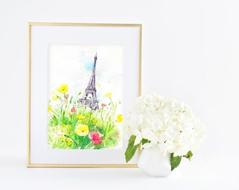Sunny Day in Paris - Eiffel tower- Giclee Art print - Watercolor Painting - Office & Home decor Wall Art - 8x10