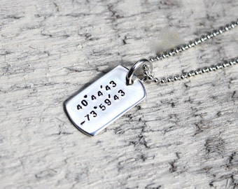 Tiny sterling silver coordinates dog tag necklace, stamped dog tag, gps necklace, lat long necklace, coordinates jewelry, silver dogtag, gps