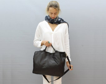 Sale!!!  Black leather bag Leather crossbody tote bag Soft black Leather handmade with LOVE!