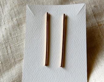 stick earrings -post bar earrings - bar earrings - simple bar earrings - 14k gold filled stick earrings - match stick earrings - post bar