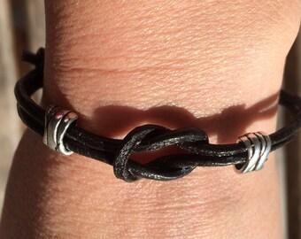 Adjustable Knotted Leather Bracelet