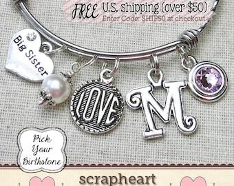 BIG SISTER Bracelet, Big Sis Bracelet, Expandable Charm Bracelet, Pearl Initial Birthstone Bracelet, Sister Gift, Gift for New Big Sister