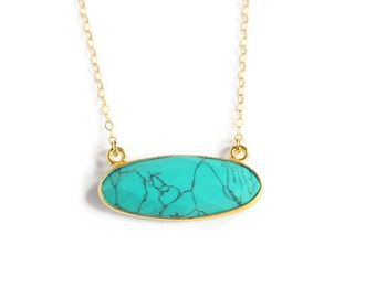 SALE Oval Turquoise and Gold Pendant Necklace