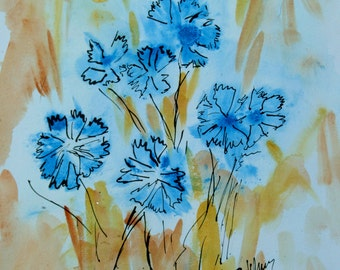 "Watercolor ""Cornflowers"""