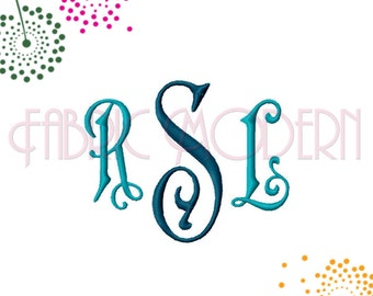 THREE LETTER MONOGRAM Embroidery Font, two sizes, center and side letters for each size, #596