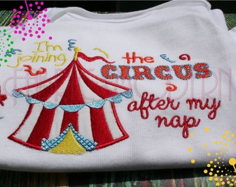 CIRCUS Machine Embroidery Design Applique', 5x7 and 6x8, Joining the Circus, humorous kids embroidery, #720