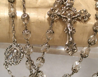 Sterling Rosary Spectacular Crystal Large Exceptional