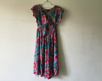 Vintage 80s Floral Dress Long Maxi Dress