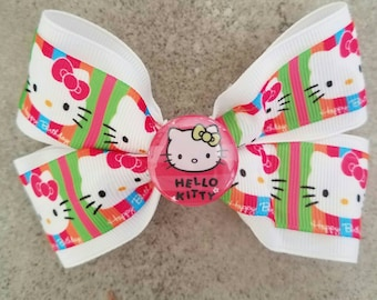 Hello Kitty Hair Bow. Hello Kitty Hair Clip. White Hello Kitty Bow. Hello Kitty Birthday Bow.