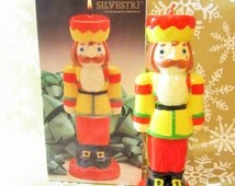 Christmas Nutcracker Candle, Vintage Soldier Candle, Silvestri, Yellow Red Figural Candle, Christmas In July, Nut Cracker Holiday Candle