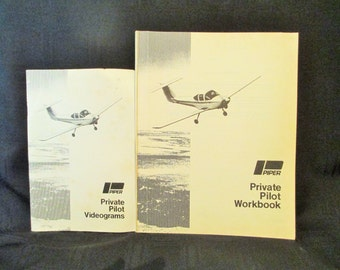 Private Pilot Workbook, 1979 Piper Plane Book, Vintage Aviation Book, Flight Book, Private Pilot Videograms Guide, 2 Piper Airplane Books