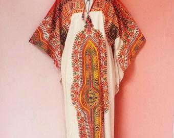Vintage 1970s Angel Wing Dashiki Cream Cotton Maxi Dress