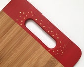 Clearance! Bamboo Cutting Board Red with Gold Polka Dots, Custom Chopping Board, One of a kind