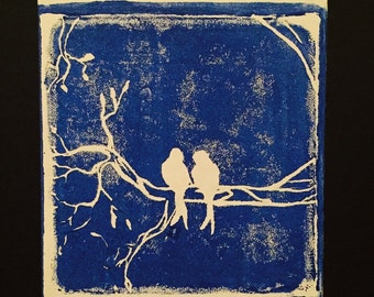 Love Birds, block print