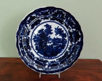 Antique Flow Blue Plate William Adams Fairy Villas