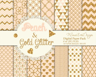 Peach Gold Digital Paper Pack Seamless Patterns Printable Planner Backgrounds Pastel Glitter Chevron Polkadot Circle Stripe Instant Download