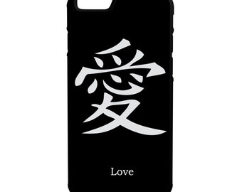 Chinese Writing Love iPhone Galaxy Note LG HTC Hybrid Rubber Protective Case Black Background