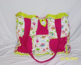 Pink Lime Owls Adorable Rag Quilt Diaper Bag Tote Purse Handmade