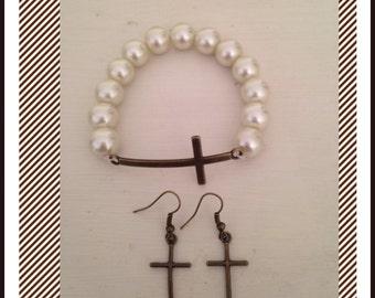 Broze Cross & Pearl Set