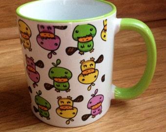 GREEN Platypus Patterned Coffee Mug- 11 oz