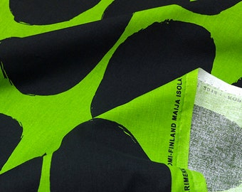 Marimekko Koppelo cotton fabric, 1 yard, black and green, Finland