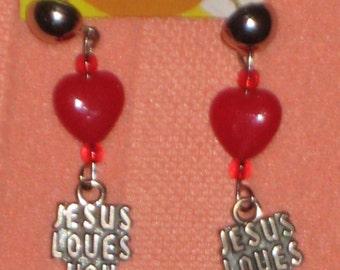 SJC - Jesus Loves You Charms 925 Silver Drop Earrings with Hearts