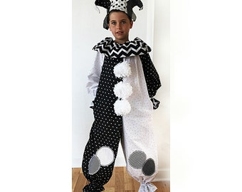 Ready to Ship: Jester or Clown Costume, Black and White, child size 7/8