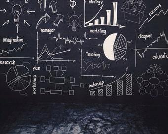 Blackboard photography background, Graffiti handdraw brick wall photography backdrop D-3495