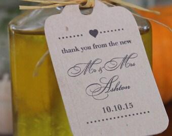Personalized DIY Wedding Favor Tags - Shabby Chic - Farmhouse - Kraft Paper - Customizable