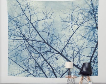 wall tapestry, oversized wall art, forest tapestry, tree tapestry, wall tapestry, nature tapestry, blue tapestry, trees