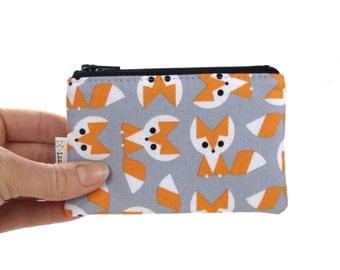 Coin Purse - Fox - Geometric - Change Purse - Card Wallet - Gift - Gray - Cute Coin Purse - Card Case - Zipper Bag