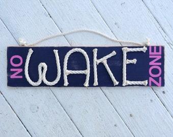 Distressed No Wake Zone sign -nautical nursery sign - beach nursery sign nursery decor - nautical rope sign - no wake nursery wood sign