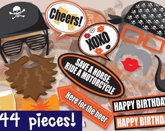 Motorcycle Photo booth Props - PRINTABLE - 44 piece - Instant Download Print Party - Motorbike Photobooth Paper Props Diy
