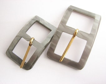 Small grey Belt Buckles, Vintage Plastic buckle: choose from 2 sizes, lucite plastic buckles, unused!