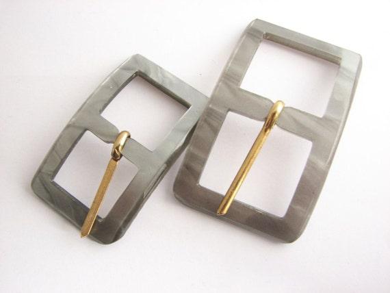 Small Grey Belt Buckles Vintage Plastic Buckle Choose