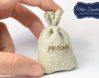 "Linen bag with ""potatoes"" sign-  miniature handmade Dollhouse 1:12 kitchen"