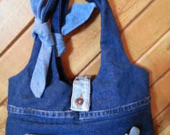 Blue Jean Button Flower Recycled Handbag