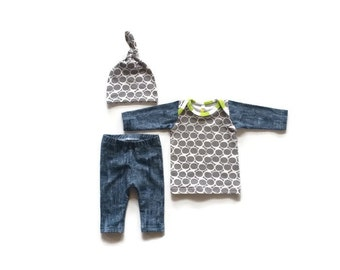 Newborn boy coming home outfit, baby boy, infant, boy clothes, take home outfit, hospital outfit, gray, navy