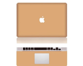"Macbook Beigh Front & Wrist Sticker Vinyl Decal Cover For Macbook Pro 13"" Comes with free keyboard cover and gift"